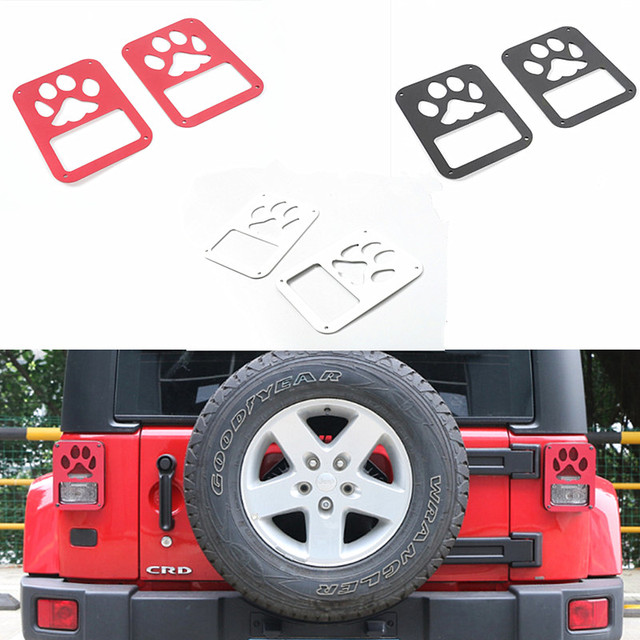 Cute Black Red White Paw Print Tail Light Covers Aluminium Rear Lamp Cover  For Jeep Wrangler