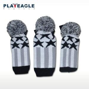 Image 2 - Couvre chef de club de Golf 3 pièces/ensemble à tricoter couvre chef de pilote de Golf en bois laine tricotée 1 3 5 couvre chef gris à rayures avec étiquette numérique