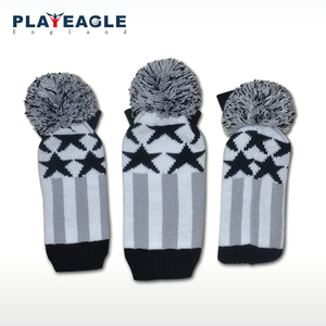 Image 2 - Golf Clubs Headcover 3pcs/set Kniting Golf Driver Wood Head Covers Knit Wool 1 3 5 Fairway Grey Stripe Headcover with Number Tag