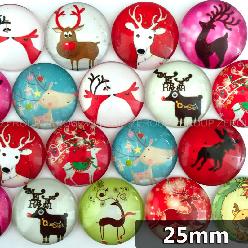 25mm round photos glass cabochon mixed pattern fit cameo base setting for flat back jewelry components 20pcs/lot TP-187