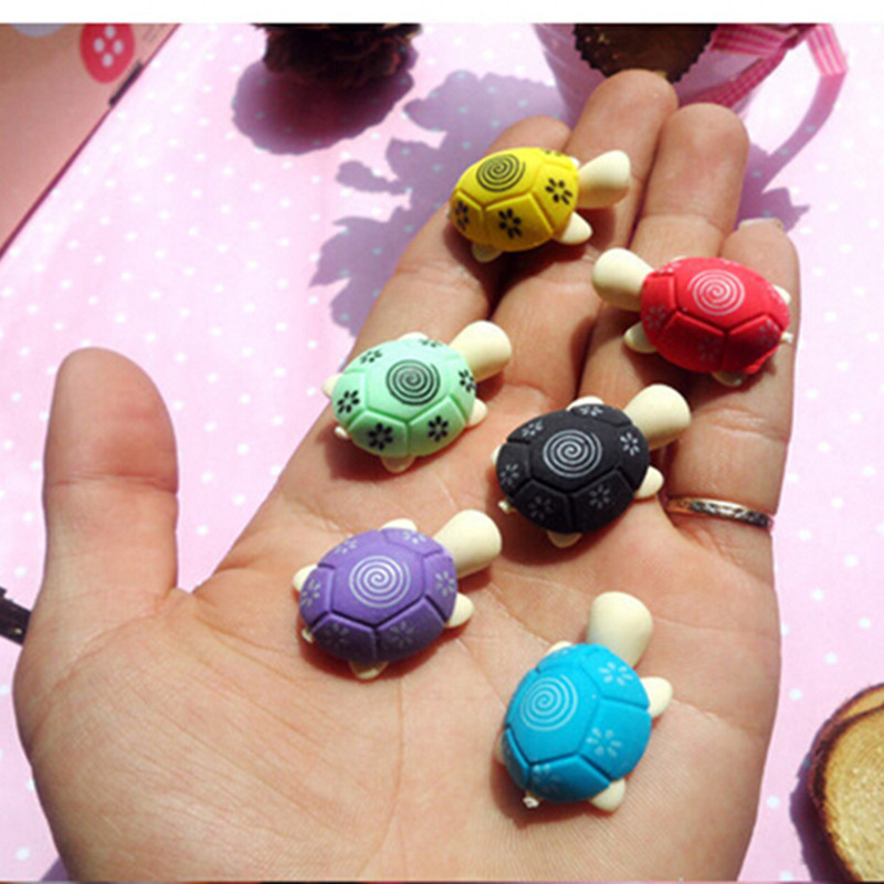 все цены на 10 PCS Turtle Shaped Pencil Eraser For Kids Students Rubber Erasers Cleansing Stationery Product Children Office School Supplies
