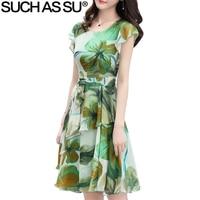 New Summer Vintage Elegant Chiffon Dress Women Peach Lotus Print O Neck Ruffle A Line Dress Ladies High Waist Mid Long Dress