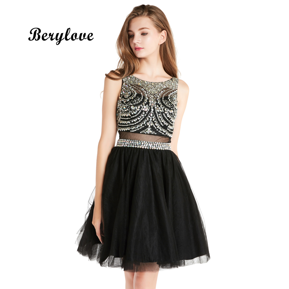 BeryLove Fashion Short Black Prom Dresses 2018 Mini Backless Beaded Tulle Prom Gowns Short Graduation Dresses For Prom Party