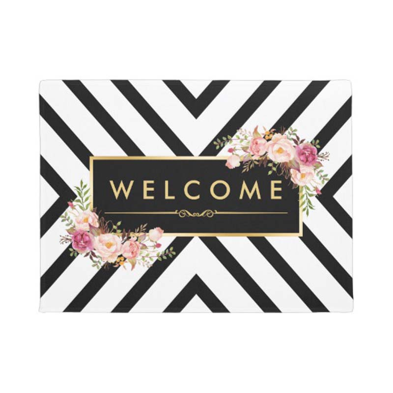 Stylish Gold Vintage Floral Black White Pattern Doormat Home Decoration Entry Non slip Door Mat Rubber