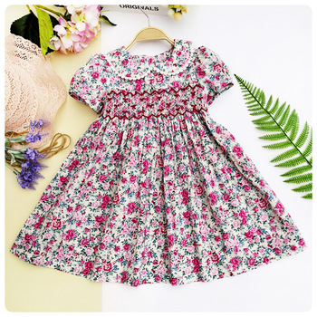 4c7030f852a Printemps été 2019 filles smocks broderie robes imprimé Floral poupée robe  pour enfants fille princesse smocké robes de fête