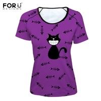 FORUDESIGNS Purple Women O Neck T Shirts Stylish 3D Black Cat Fish Bones Print Female Tshirts Brand Design Short Sleeve Top Tee