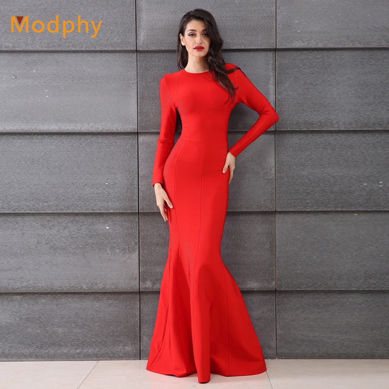 50f12182db51 2018 New Sexy Trumpet Mermaid Bandage Dress Women Floor Length Long back  mesh see through Evening Party Dresses red HL381