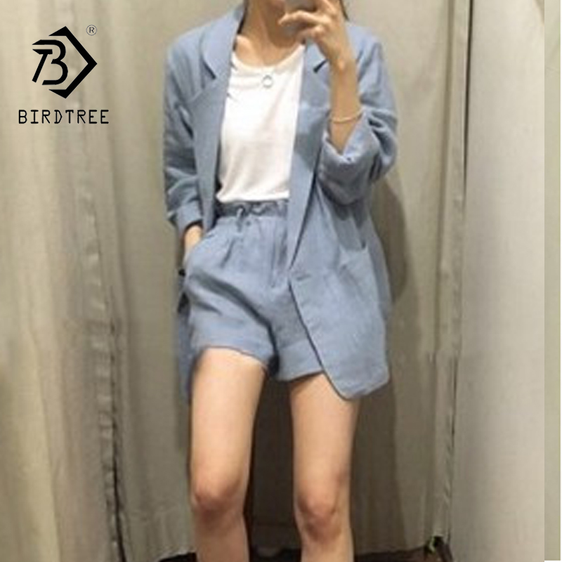 2018 Spring Summer New Arrival 2 Piece Sets Women Full Sleeve Cotton Linen Loose blazer shorts office lady elegant Suits S84005X