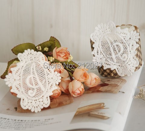 Wholesale Free Shipping Words A Cloth Paste Fabric Paste DIY Lace Decoration 40pcs lot Ecru and