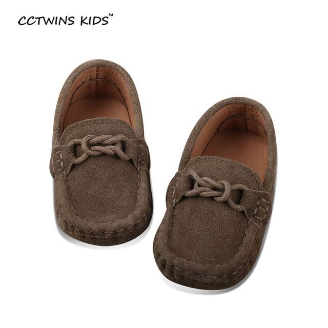 Moda mocasín zapatos para niños zapatos de cuero, zapatos de color caqui.