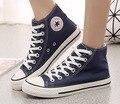 Nuevo 2016 hot summer star plana toe ata para arriba alrededor del zapato unisex parejas de alta zapatos de lona casuales