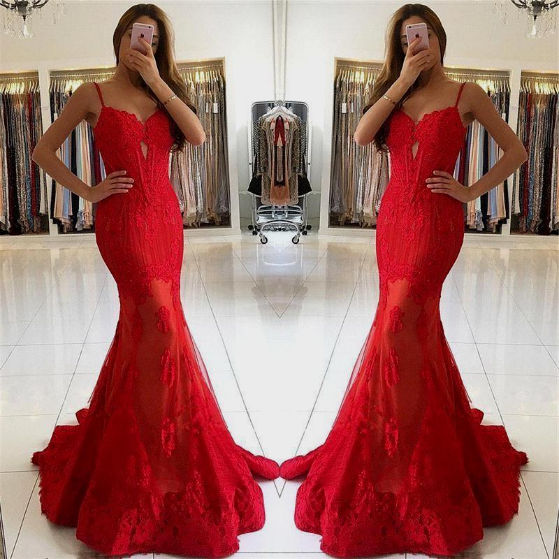 2020   Prom     Dresses   Mermaid Spaghetti Straps Tulle Sweetheart Long   Prom   Gown Lace Red Evening   Dresses   Robe De Soiree