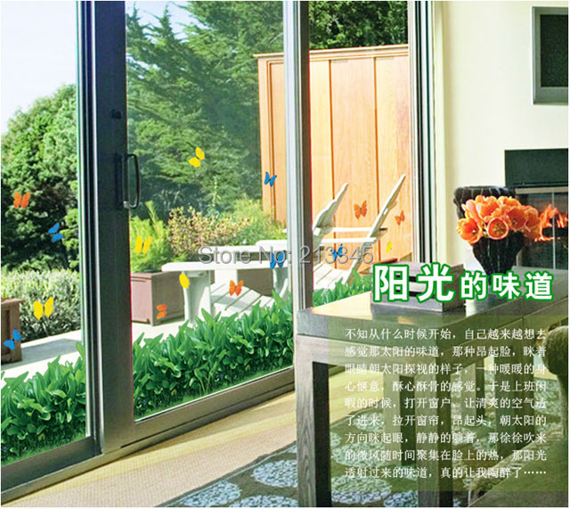 [Fundecor] removable diy home decor green grass of home garden style living room window glass decorative wall stickers