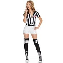Взрослый Для женщин черный, белый цвет, с полосой, сексуальный костюм судьи средней школы для девочек болельщик форма Женские пикантные Футбол игры рефери Outfi