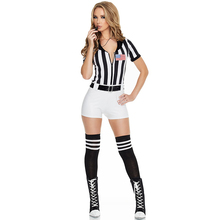 f83b9a66b13 Disfraz de árbitro Sexy de rayas blancas negras para mujeres adultas,  uniforme de animadora de