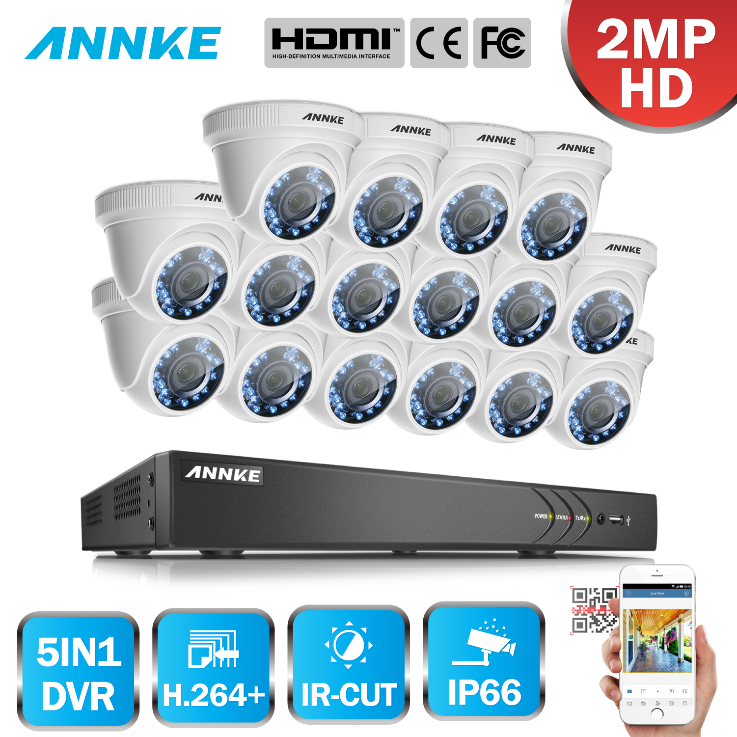 ANNKE 3MP 16CH 5in1 HD TVI CVI AHD Security DVR Recorder With 16pcs 1080P 2MP Outdoor Weatherproof CCTV Cam Surveillance System annke 3mp 4ch hd tvi cvi ahd ip 5in1 dvr vca 2mp hd smart ir day night vision bullet cctv camera video security system 3d dnr