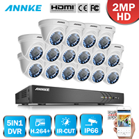 ANNKE 16 CH 5in1 HD TVI CVI AHD 3MP Security DVR Recorder With 16pcs 1080P 2MP In/Outdoor Fixed CCTV Cameras Surveillance System