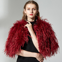 short Knitted Genuine Ostrich Fur Coat 100% Fluffy Feather Fur Jackets Handmade Women Natural Ostrich Fur Jacket