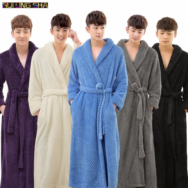 New Arrival Men Winter Thick Warm Luxury Long Bathrobe Lovers Kimono  Jacquard Bath Robe Male Solid Dressing Gown for Women Robes 889485600