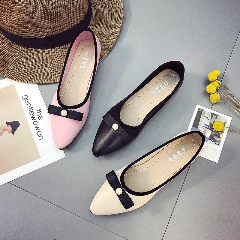 Unique Bout Chaussures Automne Asakuchi noir Glissement Cuir rose forme Appartements En Printemps Sur Pointu Plate Perle 2018 Mocassins Beige Femmes Plates O6q4t5xw