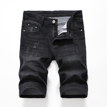 2 Styles New Fashion Men Short Summer Mens Ripped Hole Denim Shorts Elastic Distressed Washed Jeans Shorts for Male