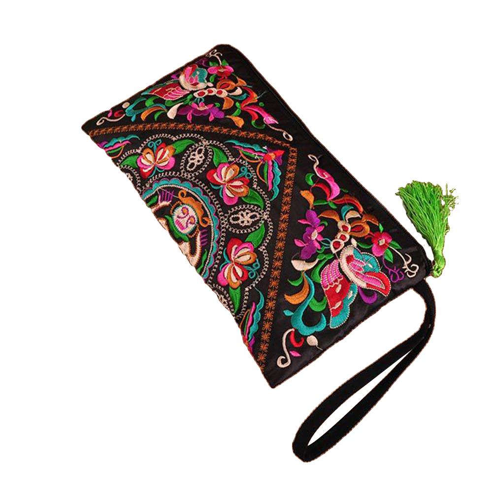 Women's Ethnic Embroidered Wristlet Clutch Bag Zipper Purse Long Wallet Pouch