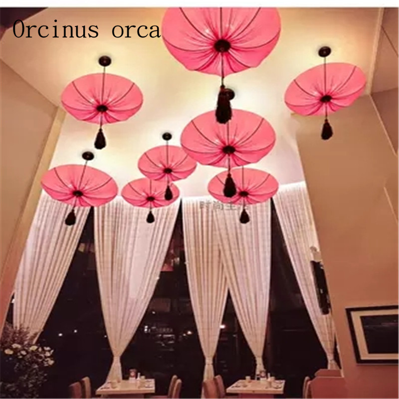 Southeast Asia cloth art lotus lamp Chinese art pendant lamp living ...