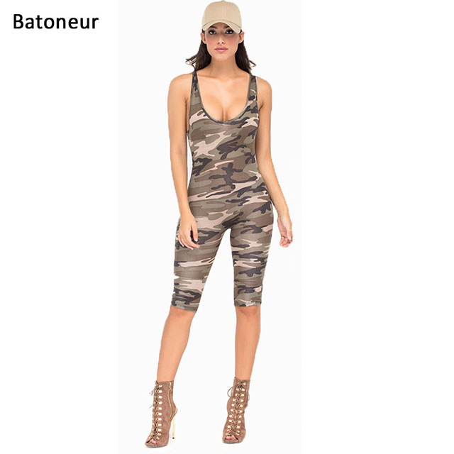 7b6e62e3b631 Batoneur Camouflage Jumpsuit Romper Fitness Slim Women Backless Be Stretchy  Bodysuit Overalls Big Size Rompers Womens Jumpsuit