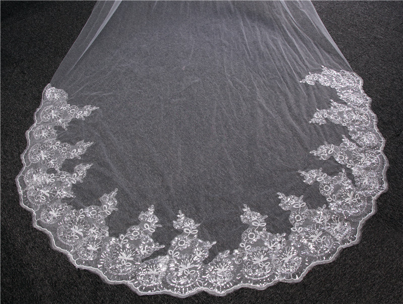Image 4 - 4 meters Cathedral Wedding Veil Long Lace Edge Bridal Veil with Comb Wedding Accessories Wholesale-in Bridal Veils from Weddings & Events