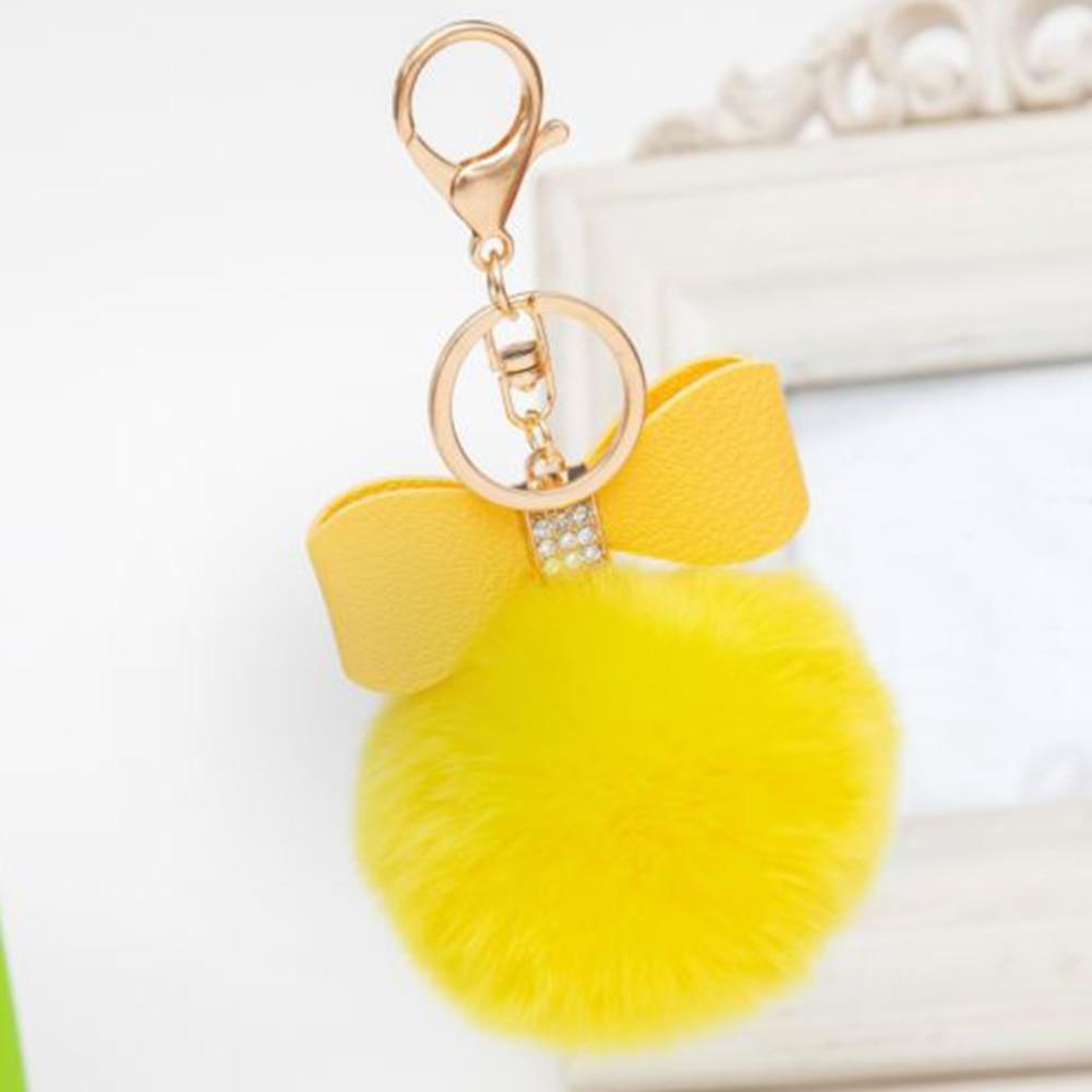 Conscientious Fashion Pom-pom Key Chain Bag Purse Fluffy Puff Ball Bow Key Ring Car Pendant Nourishing Blood And Adjusting Spirit