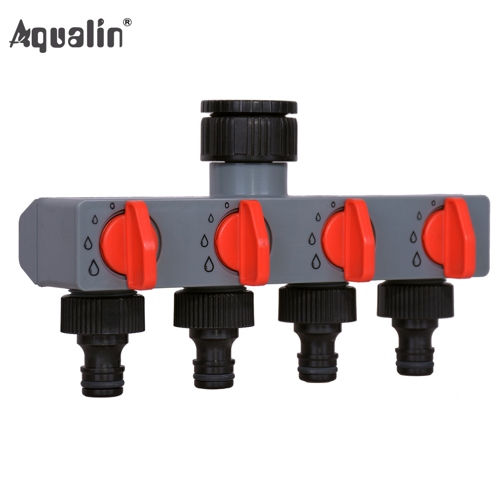 4 Way Water Distributor Tap Adapter  ABS Plastic Connector Hose Splitters For Hose Tube Water Faucet#27208