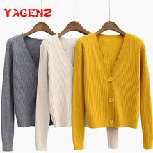 YAGENZ 2018 Spring And Autumn Coat Women Knitted Sweater Short Coats Long sleeve V Neck Cardigan Screw Thread Female Sweater Top