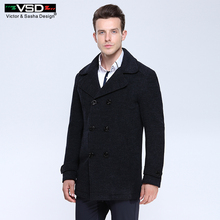 VSD Wool Blends Suit Design Wool Coat Male Quality Casual Trench Slim Fit Double Breasted Office Suit Jacket Coat for Men's 3018(China)