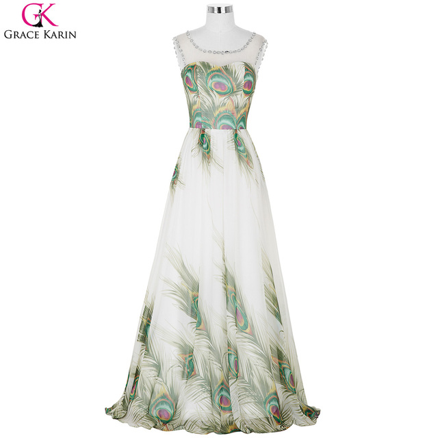Peacock Bridesmaid Dress Grace Karin Chiffon Pattern Beads Sleeveless  Elegant Gowns Designs Special Occasion Dresses For Wedding-in Bridesmaid  Dresses ...