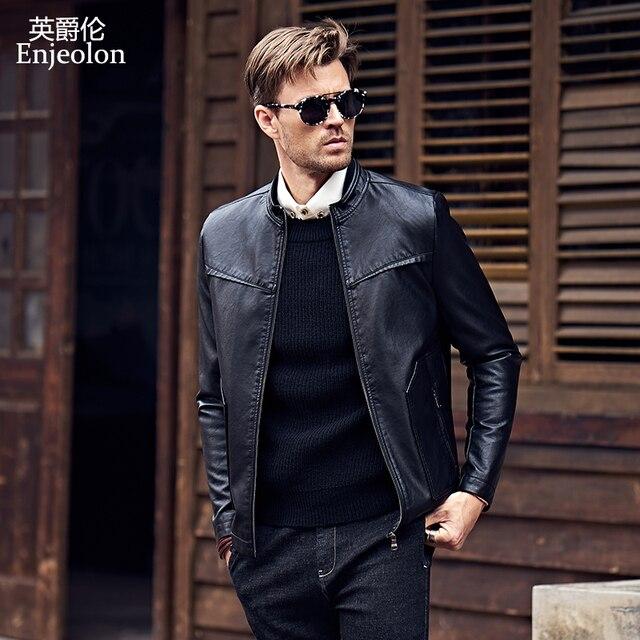 Enjeolon thương hiệu PU Da Xe Gắn Máy Áo Khoác Nam thường xuyên áo khoác da pu nam Giản Dị màu đen PU Áo Khoác P305