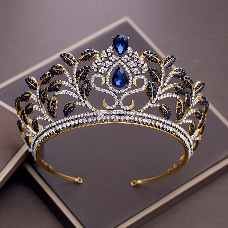Vintage Blue Rhinestone Crown Baroque Queen Tiara Bridal Wedding Headband Hair Jewelry Ornament Gold Color Headpiece for Women new vintage gold color luxury baroque crown rhinestone crystal queen tiara big crown for bridal wedding hair jewelry accessories