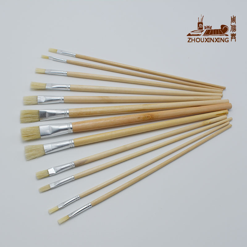 12pcs/Set Painting Brush Oil Paint Pig Bristles Water Color Painting Brush Acrylics Art For Supplies Stationery Row Pen