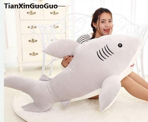 Grand 100 cm dessin animé gris requin en peluche jouet très doux poupée jeter oreiller cadeau d'anniversaire h0794