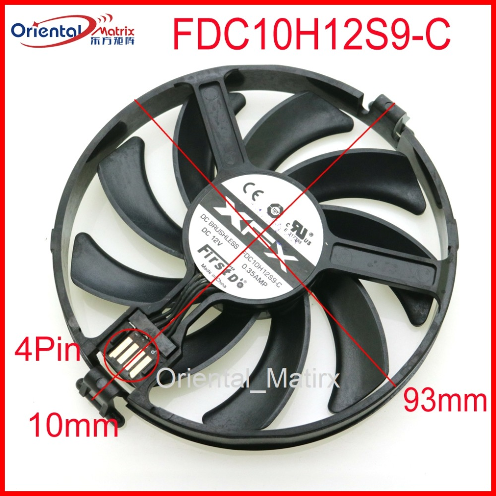 Free Shipping FDC10H12S9-C 12V 0.35A 93mm VGA Fan For XFX RX480 RX470 R9 370X 380X Graphics Card Cooling Fan 4Pin free shipping 2pcs lot 86mm vga fan 4pin for galaxy gtx950 960 gtx1060 graphics card cooler cooling fan