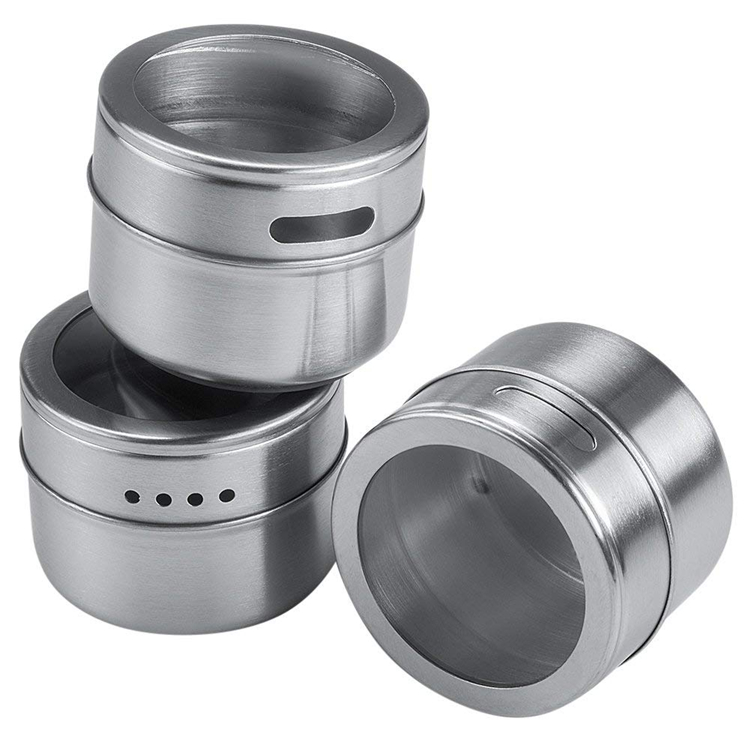 LMETJMA Magnetic Spice Jar Set With Stickers Stainless Steel Spice Tins Spice Storage Container Pepper Seasoning Sprays Tools 12