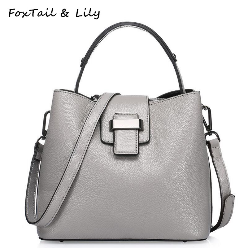 FoxTail & Lily Women Genuine Leather Small Bucket Bag Luxury Tote Handbags Female Cow Leather Shoulder Messenger Crossbody Bags women shoulder bags leather handbags shell crossbody bag brand design small single messenger bolsa tote sweet fashion style