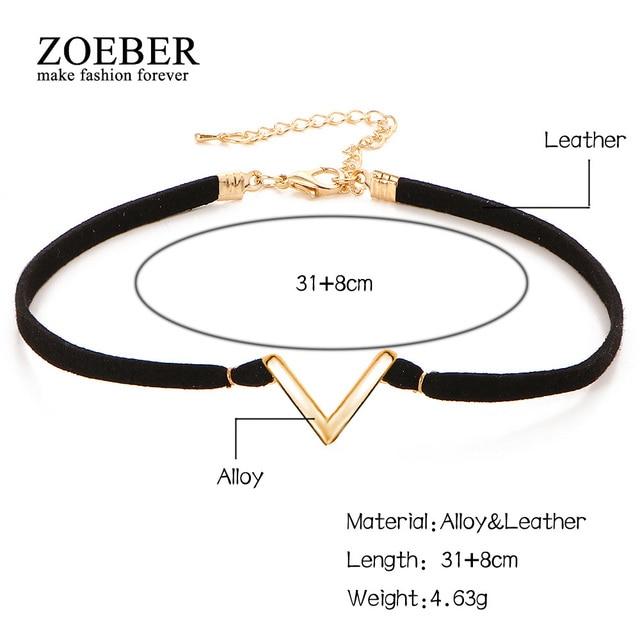 ZOEBER Fashion Collar Feminino V Word letter Kpop Choker Necklaces & Pendants for Women statement jewelry velvet collier femme