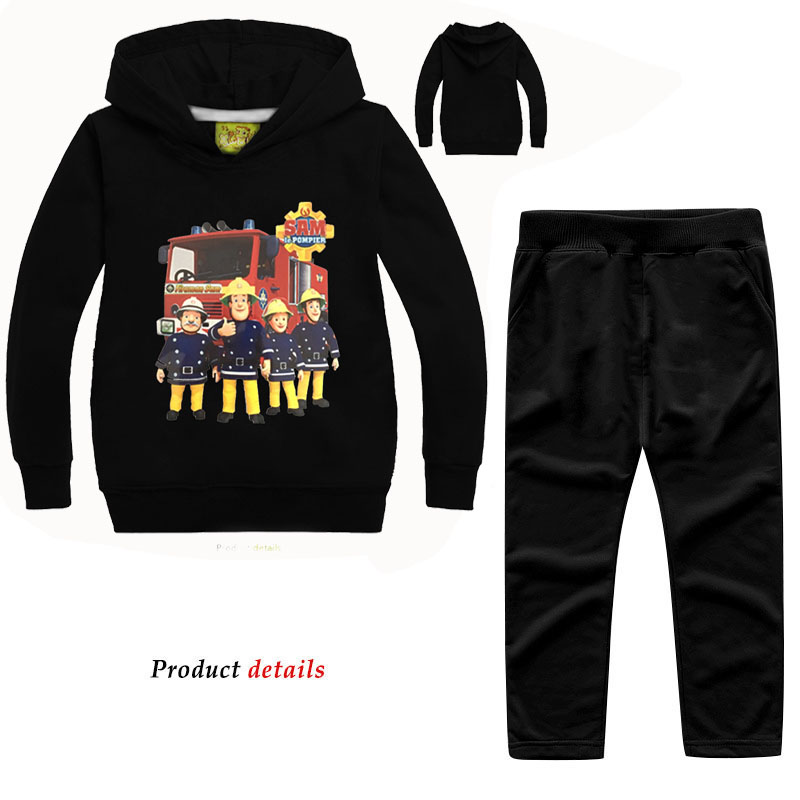 Dlf 2-12y Spring Autumn Fireman Sam Print Sweatshirts Suits For Kids Clothing Outdoor Tracksuits Children Hooded Clothes Sets Promote The Production Of Body Fluid And Saliva Clothing Sets