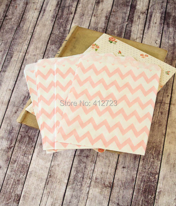 Light Pink Chevron Popcorn Bags Treat Paper Wedding Party Favor Kraft Cookie Candy Cake Biscuit Packaging Bag 50pcs In Gift Wring