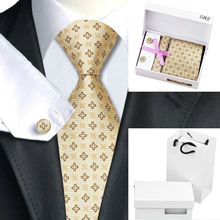 B-582 Men Tie Yellow Novelty Silk Jacquard Neck Ties Hanky Cufflinks Gift Box Bag Set Business Party Wedding Gifts