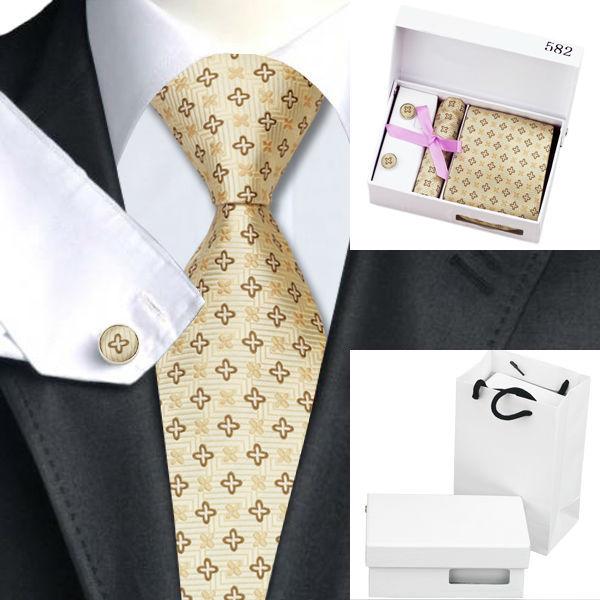 Homens Amarrar B-582 Amarelo Novidade Seda Jacquard Gravatas de Lenço Abotoaduras Presentes de Casamento Festa de Saco Caixa de Presente Conjunto de Negócios