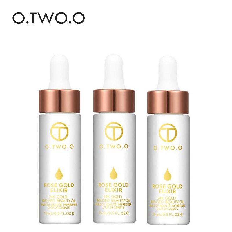 O. DEUX. O 3 pcs/lot 24 k Or Rose Elixir Peau Maquillage Huile Pour Le Visage Huile Essentielle Avant Amorce Fondation Hydratant en gros