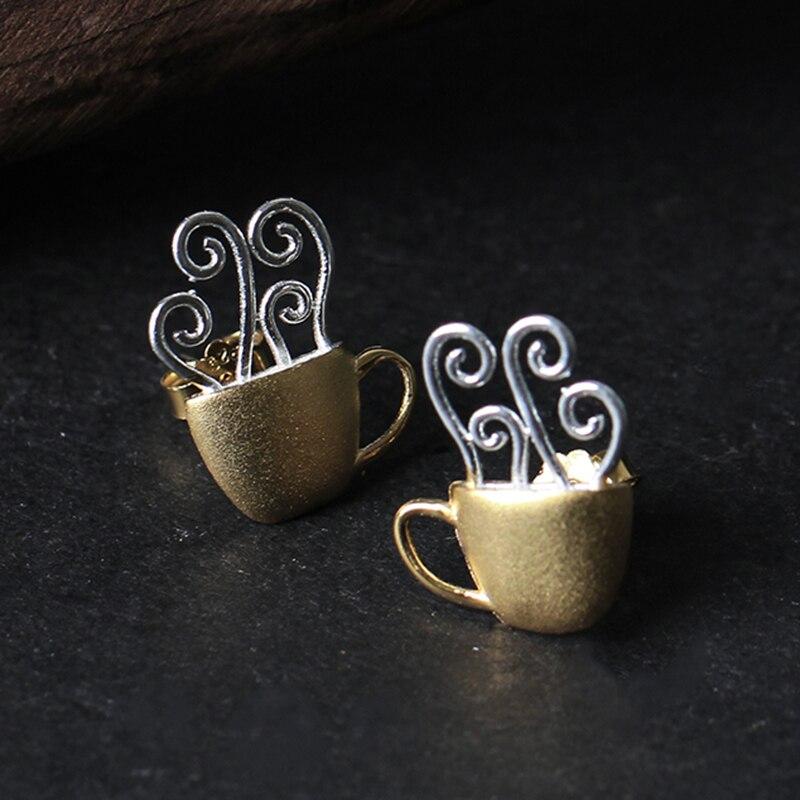 Lotus Fun réel 925 en argent Sterling goujons créatif à la main bijoux fins tasse à café chaud mode boucles d'oreilles pour les femmes Brinco - 3