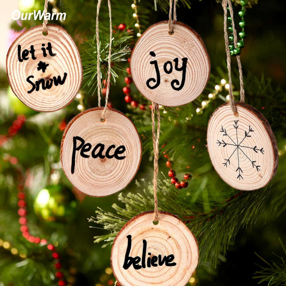 ourwarm 10pcs wood christmas tree ornament kids diy craft 2018 gifts new year christmas. Black Bedroom Furniture Sets. Home Design Ideas