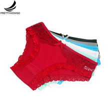 Prettywowgo 6 pcs/lot Sexy Panties New Arrival 2019 Women Cotton Color Lace Underwear 9342